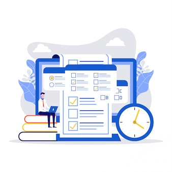 Concetto di esame online, test online, modulo del questionario, formazione online, sondaggio, quiz su internet.