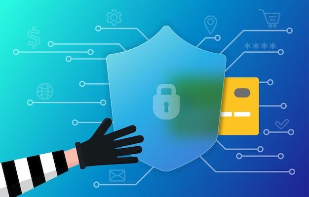 Concetto di frode online hacking di dati sulla criminalità informatica scammer vuole rubare i dettagli personali