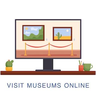 Il concetto di museo online, un mulino con dipinti sullo schermo di un computer.