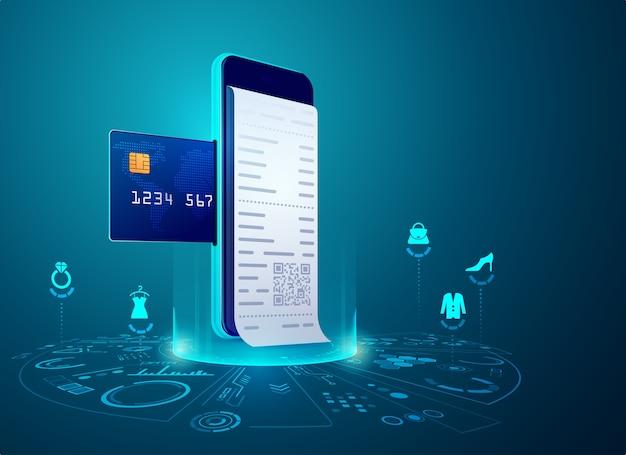 Concetto di shopping online o e-commerce, grafica del telefono cellulare con carta di credito e fattura di pagamento