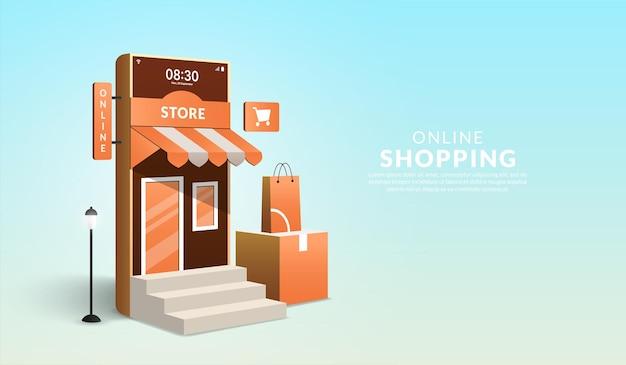 Concetto di shopping online su sito web e applicazione mobile smartphone 3d sotto forma di mini negozio
