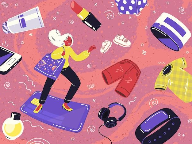 Concetto di shopping online una donna vola su una carta di credito attraverso le distese del mercato
