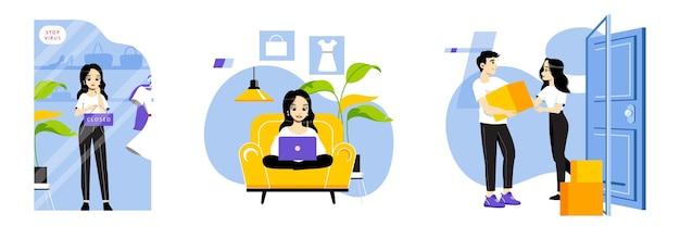 Concetto di acquisti online. ragazza che fa acquisti in linea da casa. ordine della donna sulla merce internet seduta sul divano. acquisti online da casa. illustrazione piana di vettore del profilo lineare del fumetto.