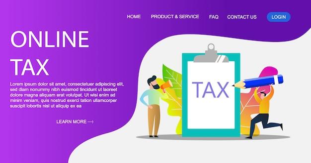 Il concetto dell'illustrazione di pagamento di imposta online, la gente che riempie il modulo di imposta, può usare per, pagina di destinazione, modello, interfaccia utente, manifesto.