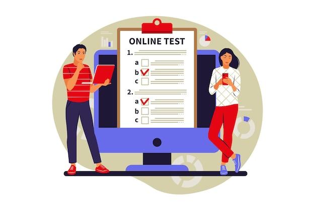 Test online di concetto, e-learning, esame su computer o telefono. illustrazione vettoriale. appartamento