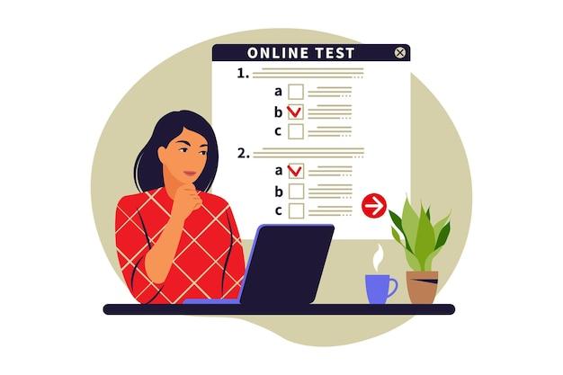 Test online di concetto, e-learning, esame sul computer. illustrazione vettoriale. appartamento