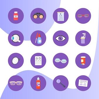 Concetto di optometria set di icone di assistenza sanitaria medica piatto illustrazione vettoriale isolato su blu concetto occhio...