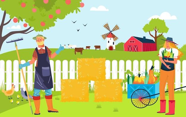 Illustrazione di fattoria biologica di concetto Vettore Premium