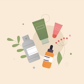 Il concetto di composizione di cosmetici naturali biologici