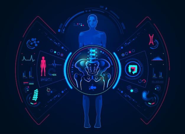 Concetto di tecnologia di analisi ortopedica, grafica della donna con scansione del bacino e del corpo