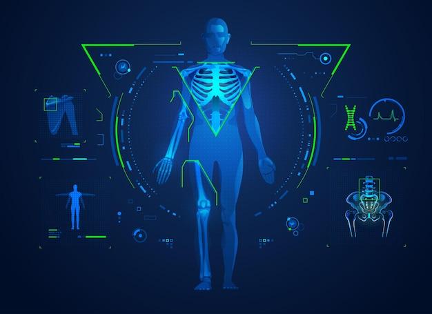 Concetto di tecnologia ortopedica o trattamento medico di ossa e articolazioni, grafica del corpo con interfaccia a raggi x