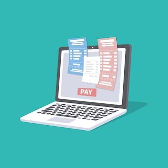 Concetto di pagare i conti fiscali delle bollette online tramite computer o laptop. servizio di pagamento online. computer portatile con assegni e fatture sullo schermo. pulsante di pagamento. illustrazione isolato.