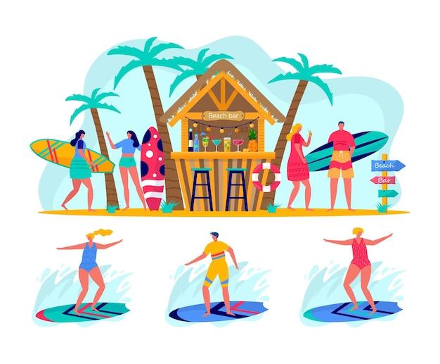 Concetto di persone che navigano con tavole da surf.