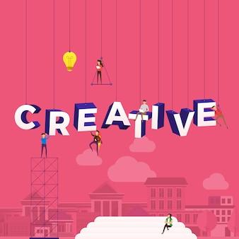 Concetto di persone che lavorano per la costruzione di testo creativo. illustrazione.
