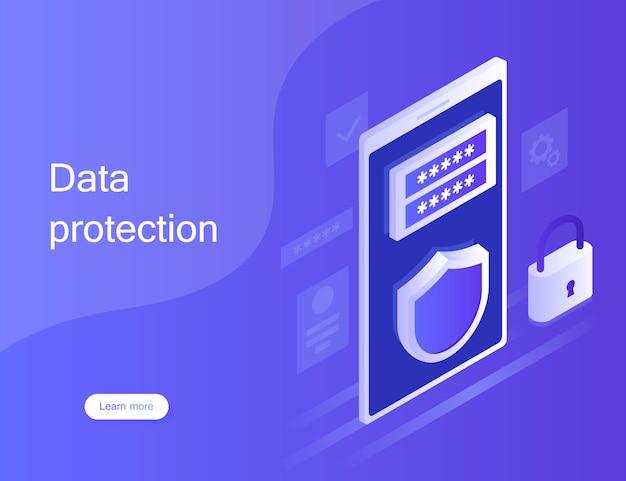 Protezione dei dati personali di concetto, banner web. sicurezza informatica e privacy. crittografia del traffico, vpn, antivirus per la protezione della privacy. illustrazione moderna in stile isometrico