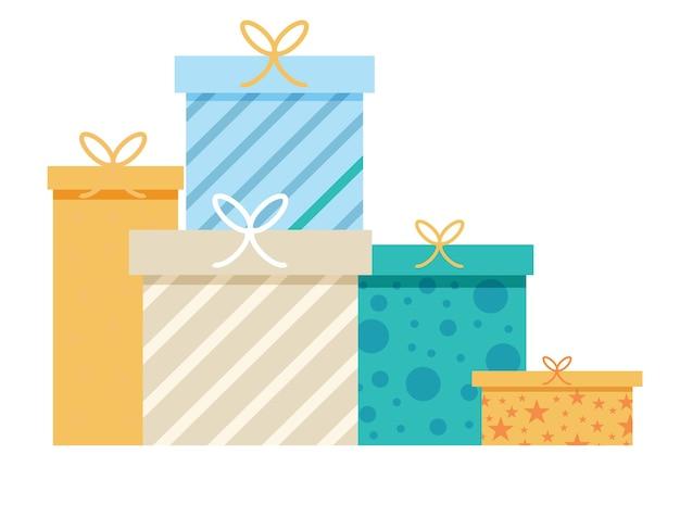 Concetto di un mucchio di regali di design. scatole regalo in piedi uno accanto all'altro.