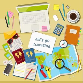 Concetto di pianificazione di vacanza e illustrazione di viaggio