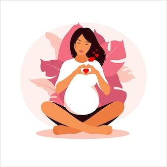 Concetto di gravidanza, maternità, yoga, meditazione e assistenza sanitaria. illustrazione in stile piatto.