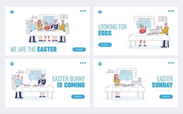 Concetto di preparazione per una felice vacanza di pasqua. pagina di destinazione del sito web. persone che decorano le uova di pasqua. pagine di destinazione del sito web di cartoon outline linear flat.