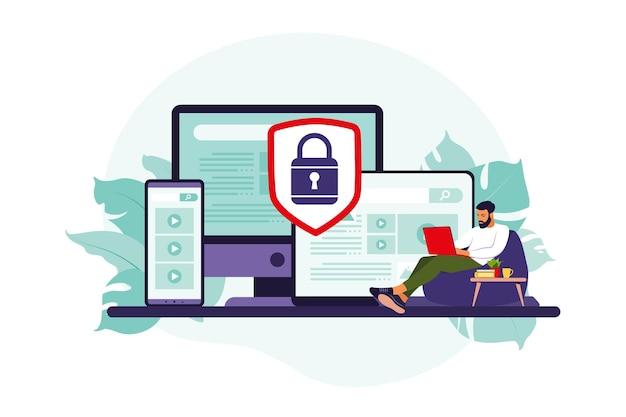 Concetto di protezione dei dati del computer. sicurezza generale dei dati. protezione delle informazioni personali.