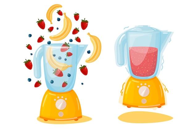 Il concetto di una colazione veloce, gustosa e bella. cocktail di banana fragola cruda biologica. robot da cucina, mixer, frullatore e frutta. illustrazione di frullati.