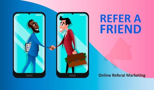 Concetto di marketing di riferimento, partnership di affiliazione, programma fedeltà refer a friend, metodo di promozione. i partner si stringono la mano con fermezza da uno smartphone gigante. illustrazione vettoriale piatto moderno.