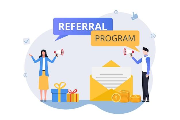 Concetto di strategia di marketing di riferimento. invita un amico programma royalty con illustrazione del metodo di promozione.