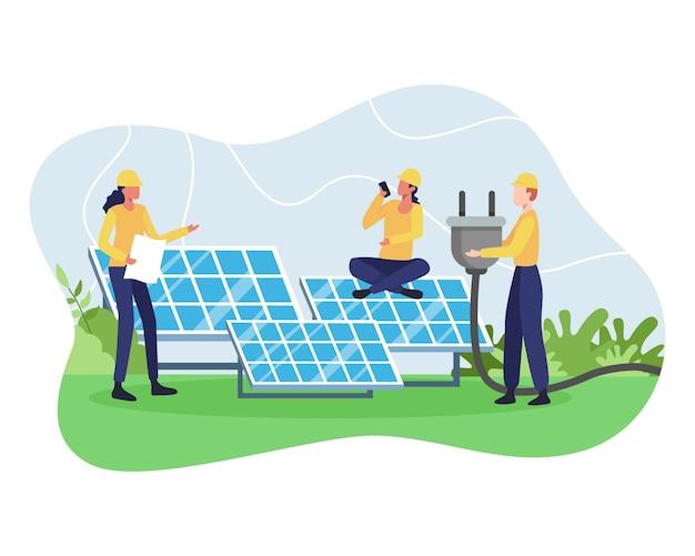 Concetto di energia rinnovabile. risorsa di energia alternativa con pannelli solari, potenza dei pannelli solari e carattere di ingegnere. energia verde e rispettosa dell'ambiente. in uno stile piatto