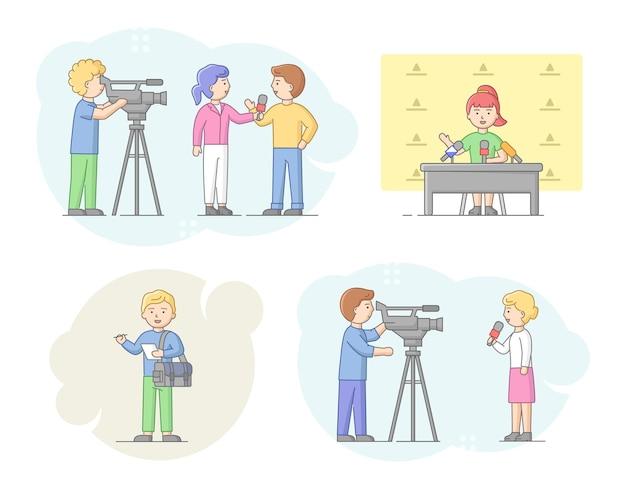 Concetto di reportage e intervista. giornalisti che intervistano persone, presentatori di notizie e cameraman o operatori video con telecamere. l'interrogante dà intervista. illustrazione di vettore piatto contorno lineare.