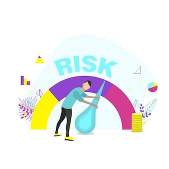 Il concetto di rischio sul tachimetro è alto, medio, basso. l'uomo gestisce il rischio negli affari o nella vita. illustrazione vettoriale piatto.