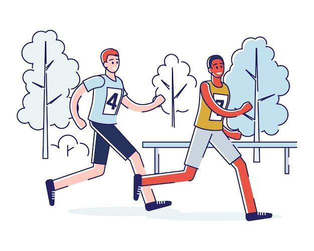 Concetto di esecuzione di maratona, stile di vita sano.