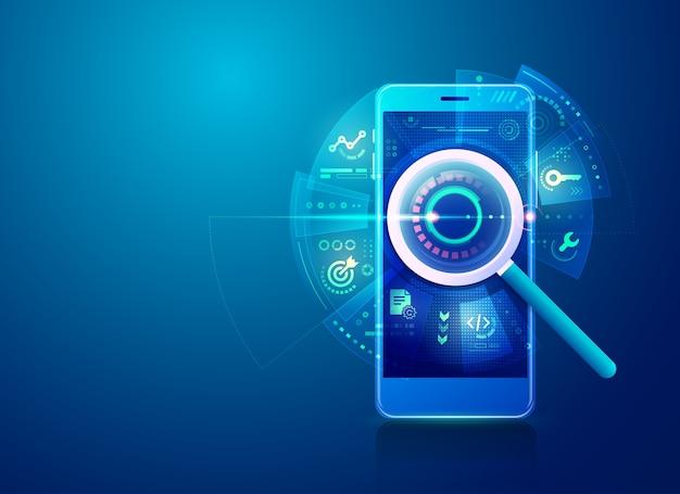 Concetto di strategia di ottimizzazione dei motori di ricerca o seo, lente di ingrandimento realistica con icone di marketing digitale