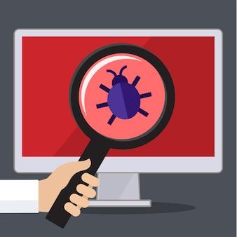 Concetto di ricerca di bug e virus