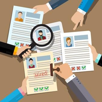 Concetto di ricerca di personale professionale, analisi del curriculum del personale, reclutamento, gestione delle risorse umane, lavoro di hr. design piatto, .