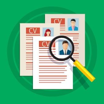 Concetto di ricerca di personale professionale, analisi del curriculum del personale, reclutamento, gestione delle risorse umane, lavoro di hr. design piatto.