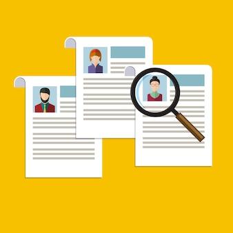 Concetto di ricerca di personale professionale, analisi del curriculum del personale, reclutamento, risorse umane
