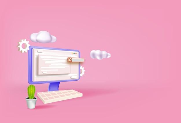 Concetto di ottimizzazione seo per il modello di pagina di destinazione del sito web