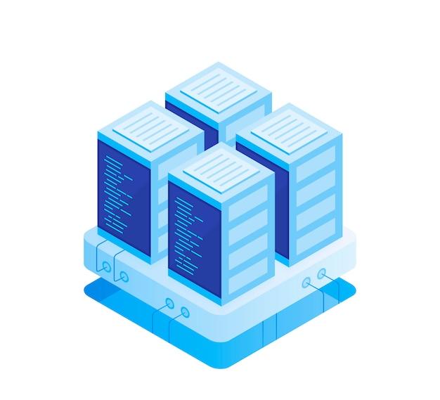 Concetto di sala server. hosting con archiviazione dati cloud e sala server. rack server. illustrazione moderna di vettore nello stile isometrico
