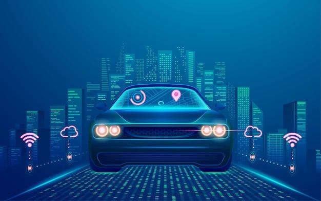 Concetto di tecnologia smart car o veicoli autonomi, grafica di auto senza conducente con smart city come sfondo