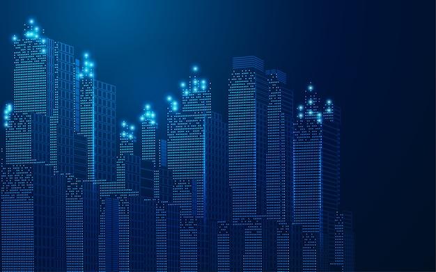 Concetto di città intelligente o città digitale, paesaggio urbano wireframe in stile futuristico