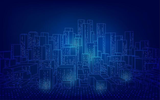 Concetto di città intelligente o digitale, paesaggio urbano wireframe in stile futuristico