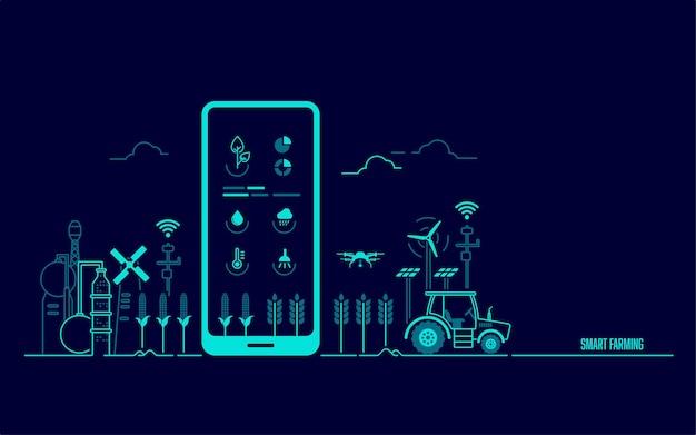 Concetto di agricoltura intelligente o agritech, grafica del telefono cellulare con applicazione della tecnologia agricola e ambiente agricolo