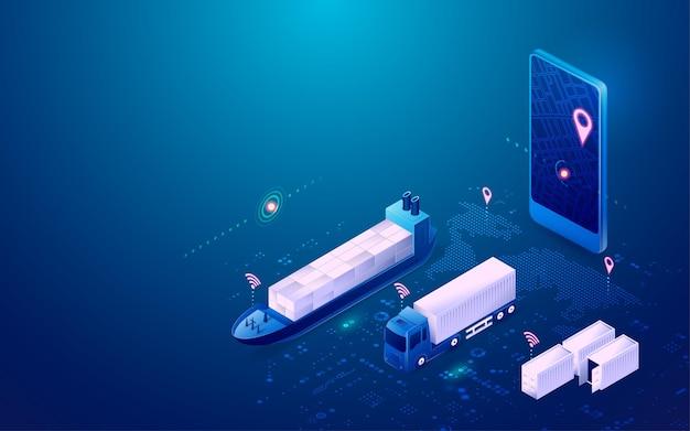 Concetto di logistica intelligente, grafica del telefono cellulare con applicazione di tracciamento con veicoli di trasporto