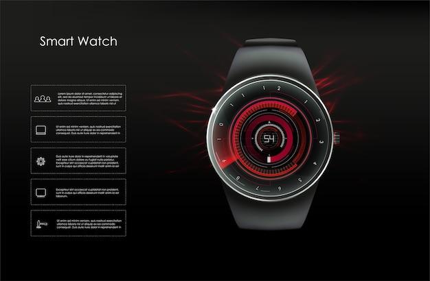 Concetto di orologi intelligenti, toni di rosso. immagine.