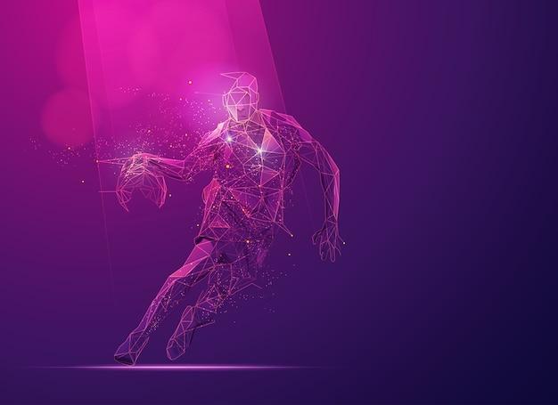 Concetto di tecnologia della scienza dello sport, giocatore di pallacanestro poligonale dribbling con elemento futuristico