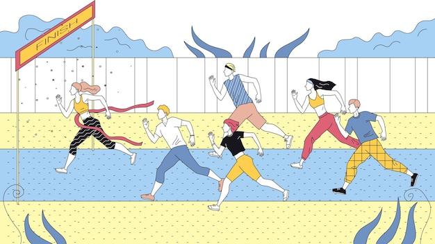 Concetto di competizione sportiva di jogging. sportivi vestiti con abiti sportivi che corrono maratona o sprint in pista. champion crossed finish line. illustrazione piana di vettore del profilo lineare del fumetto.