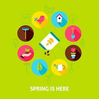 Concetto la primavera è qui. illustrazione vettoriale del cerchio di infografica giardino natura con icone piane.
