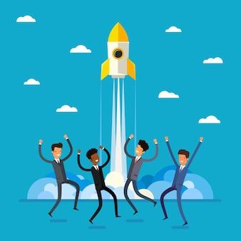 Concetto di avvio. gente di affari felice del fumetto che salta e lancio del razzo design piatto, illustrazione vettoriale.