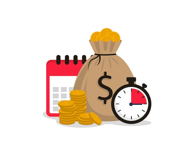 Concetto di cronometro, sacco di soldi, monete e calendario. il tempo è denaro