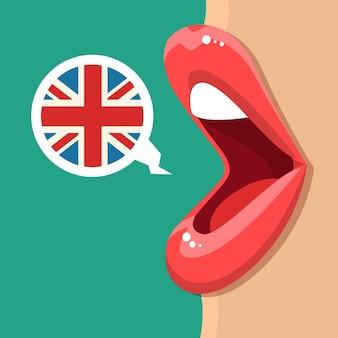 Concetto di studio dell'inglese. le labbra femminili parlano.